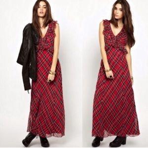 {Free People} Venitia Plaid Ruffle Maxi Dress